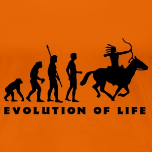 Goldorange evolution_indianer_b T-Shirts - Frauen Premium T-Shirt