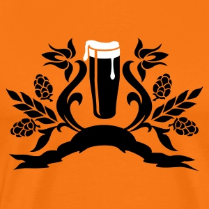 Orange doré floral: verre de bière / glass of beer (2c) T-shirts - T-shirt Premium Homme