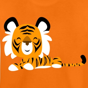 Orange Cute Cartoon Friendly Tiger by Cheerful Madness!! Kids' Shirts - Teenage Premium T-Shirt