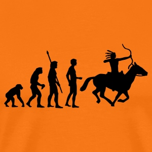 Golden orange evolution_indianer_1c Men's T-Shirts - Men's Premium T-Shirt