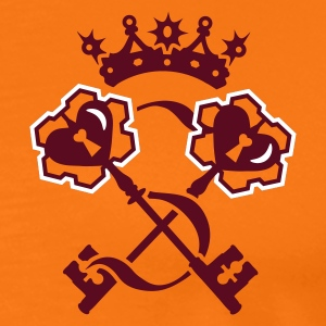 Golden orange Key to the heart with a crown and band Men's T-Shirts - Men's Premium T-Shirt