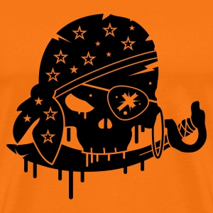 Golden orange Pirate skull with sword and eye patch Men's T-Shirts - Men's Premium T-Shirt