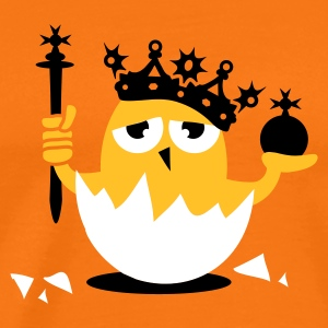 Golden orange Chick king with crown and scepter Men's T-Shirts - Men's Premium T-Shirt