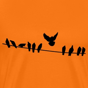 Golden orange Birds on a wire Men's T-Shirts - Men's Premium T-Shirt