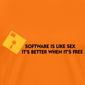 Goudoranje Software is like Sex 1 (2c) T-shirts - Mannen Premium T-shirt