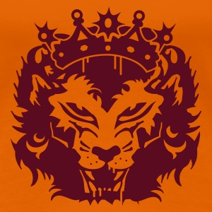 Golden orange The lion's head with crown Women's T-Shirts - Women's Premium T-Shirt