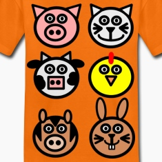 Orange farm animals Kids' Shirts