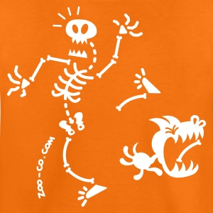 Orange Dog Stealing Skeleton's Bone Kids' Shirts - Teenage Premium T-Shirt