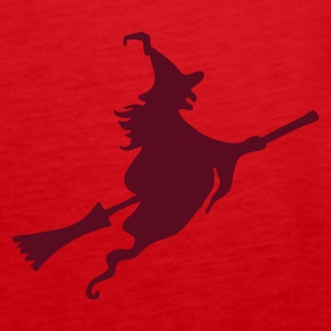 Red Witch with broom Tops - Women's Premium Tank Top