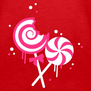 Red Pink candy lollipops on a stick Tops - Women's Premium Tank Top