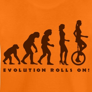 Orange evolution_einradfahrerin_1c_b Kinder T-Shirts - Teenager Premium T-Shirt