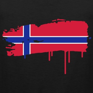 Norwegian flag painted with a brush stroke  T-Shirts - Men's Premium Tank Top