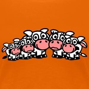 cow_family_with_boy_and_two_girls_3c T-shirts - Dame premium T-shirt