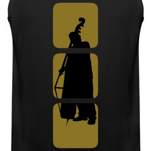 Bass shows you double bassist, musician, musical instruments bass motif Bank.  T-Shirts - Men's Premium Tank Top