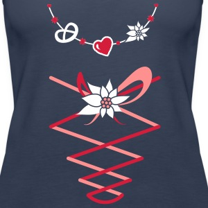 Dirndl jewelry with pretzel, gingerbread heart and Edelweiss Tops - Women's Premium Tank Top