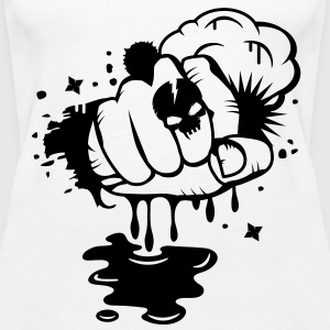 A fist in the graffiti style with skull ring  Tops - Women's Premium Tank Top