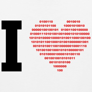 I LOVE - Binary heart - digital - black T-Shirts - Men's Premium Tank Top