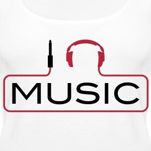 I love music plug headphones sound bass beat catch cable music i love techno minimal house club dance dj discjockey electronic electro Tops - Women's Premium Tank Top