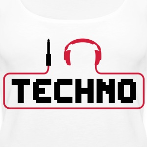 I love techno plug headphones sound bass beat catch cable music i love techno minimal house club dance dj discjockey electronic electro Tops - Women's Premium Tank Top