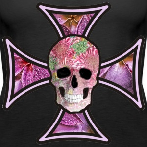 Iron Cross Flowers Skull - Women's Premium Tank Top