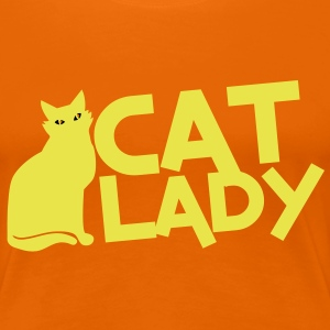 CAT LADY with black cat and yellow eyes! T-Shirts - Women's Premium T-Shirt