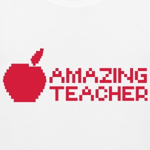 AMAZING computer TEACHER with apple in a digital  T-Shirts - Men's Premium Tank Top