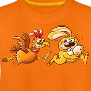 Easter Bunny Stealing an Egg from a Furious Hen Kids' Shirts - Teenage Premium T-Shirt