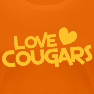 love cougars with heart funny cougar hunter T-Shirts - Women's Premium T-Shirt