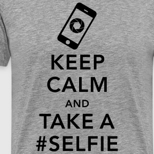 funny Keep calm take a selfie #selfie meme phone T-Shirts - Men's Premium T-Shirt