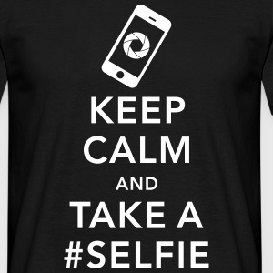 funny Keep calm take a selfie #selfie meme phone T-shirts - Mannen T-shirt