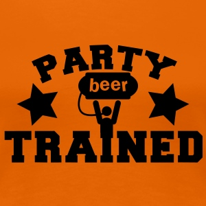 party trained holding up a beer keg! with stars T-Shirts - Women's Premium T-Shirt