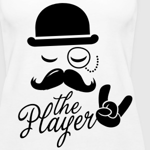 Fashion retro gentleman player met snor rock sport overwinning Bachelor in poker Tops - Vrouwen Premium tank top