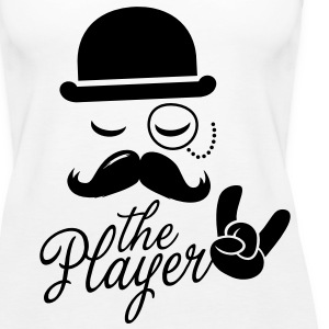 Fashionable retro gentleman player with moustache rock sport victory poker Toppe - Dame Premium tanktop