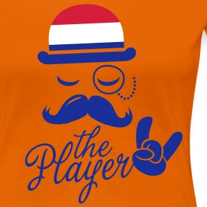 Netherlands retro gentleman sports player rock | football | Moustache | Flag European Koszulki - Koszulka damska Premium