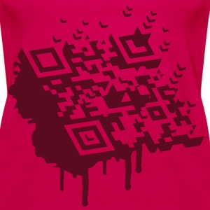 A 3D bar code as a graffiti Tops - Women's Premium Tank Top