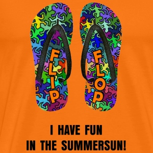 Geckos FLIP FLOP + Dein Text (I HAVE FUN IN THE SUMMERSUN!) | unisex shirt - Männer Premium T-Shirt