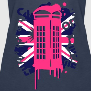 red telephone box with a British flag Tops - Women's Premium Tank Top