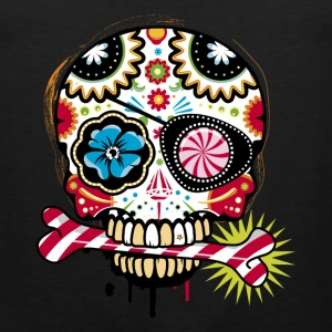 Skull with eye patch and candy cane T-Shirts - Men's Premium Tank Top