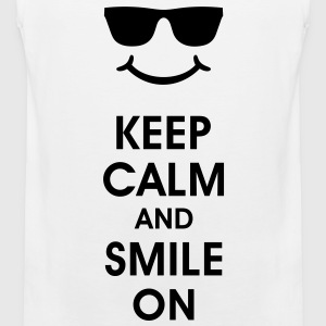Keep Calm and Smile. Smiling helps. Smiley Smilie T-Shirts - Men's Premium Tank Top