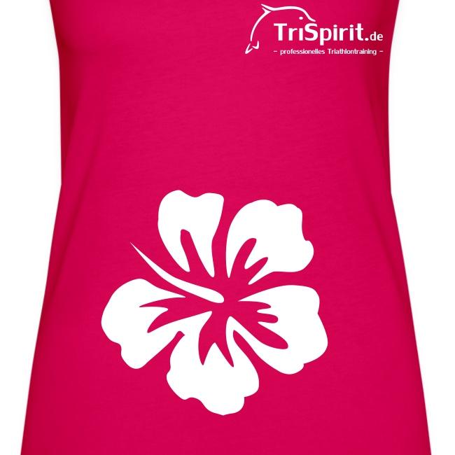 Cordula Tank mit grosser Blume, weisses Logo