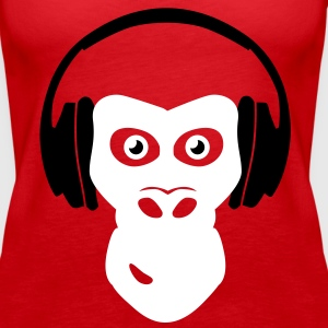 gorilla with headphones Tops - Vrouwen Premium tank top