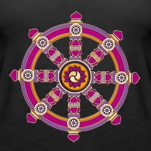 Dharmachakra, Darma Wheel of Law, Buddhist Symbol Topy - Tank top damski Premium
