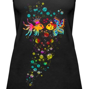 Bubble Love, Fish, water, heart, holiday, sea,  Topy - Tank top damski Premium