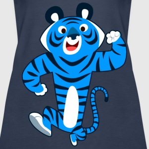Big Blue Cartoon Tiger by Cheerful Madness!! Tops - Women's Premium Tank Top