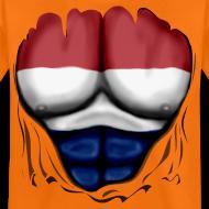 Design ~ Dutch Flag Ripped Muscles six pack chest t-shirt