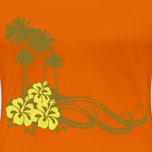 Orange Hibiscus Palms Damer - Dame premium T-shirt