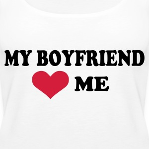 Hvit My boyfriend loves me Topper - Premium singlet for kvinner