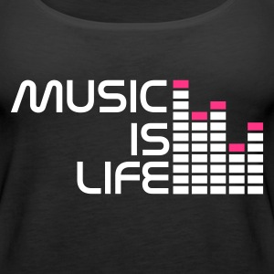 Sort music is life equalizer r DK Toppe - Dame Premium tanktop