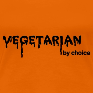 Orange Vegetarian by choice T-shirts - Dame premium T-shirt