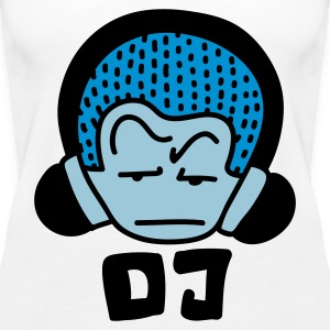 White DJ blue Tops - Women's Premium Tank Top